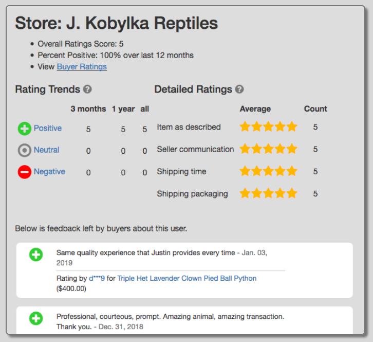 MorphMarket Ratings